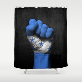 Honduran Flag on a Raised Clenched Fist Shower Curtain