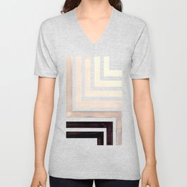Grey Mid Century Modern Watercolor Colorful Ancient Aztec Art Pattern Minimalist Geometric Pattern Unisex V-Neck