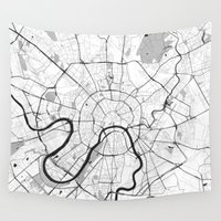 moscow Wall Tapestries featuring Moscow Map Gray by City Art Posters