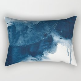 Where does the dance begin? A minimal abstract acrylic painting in blue and white by Alyssa Hamilton Rectangular Pillow