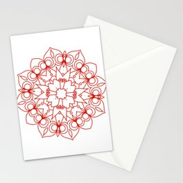 simple red lines mandala art Stationery Cards