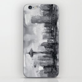 Seattle Skyline Painting Watercolor Black and White Space Needle iPhone Skin