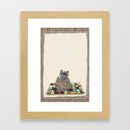 Raccoon Bubbles Framed Art Print