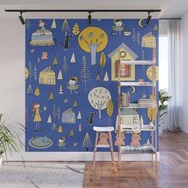 Wonderland Fairy Tale Blue Yellow Wall Mural