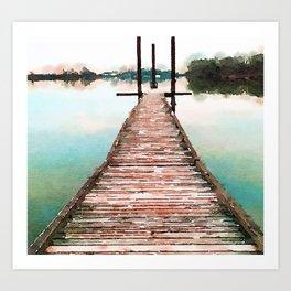 Stroll on the Dock at Sunset Art Print