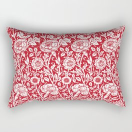 "William Morris Floral Pattern | ""Pink and Rose"" in Red and White Rectangular Pillow"