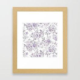 FLORAL VINTAGE ROSES MAUVE WHITE Framed Art Print