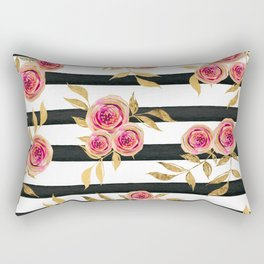Girly Modern Pink Gold Flowers Black White Stripes Rectangular Pillow