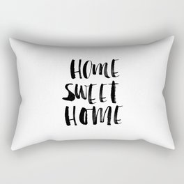 Home Sweet Home black and white monochrome typography poster design home decor bedroom wall art Rectangular Pillow