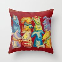 dogs Throw Pillows featuring Dogs by Catru