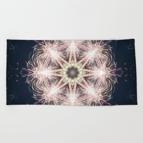New year colorful sparkly fireworks mandala Beach Towel