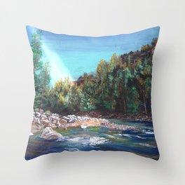 Yellowstone Secret Fishing Spot Throw Pillow