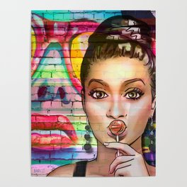 Retro Pinup Girl Lollipop Colorful Graffiti Wall Poster