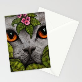 Grey Cat Orange Eyes Green Leaves Stationery Cards