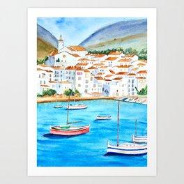 Cadaques, Spain, Watercolour painting. Art Print