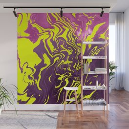 Yellow, Purple and Pink Intertwine; Fluid Abstract 50 Wall Mural