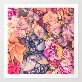 Beautiful background with different flowers Art Print