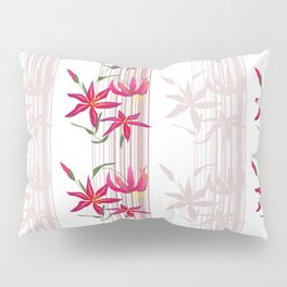Red lilies on a white striped background . Pillow Sham