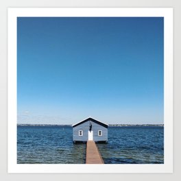 A Blue Boat House, Sky and Harbour in Perth, Western Australia Art Print