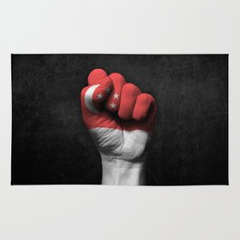 Singapore Flag on a Raised Clenched Fist Rug