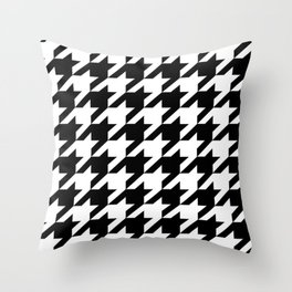 retro fashion classic modern pattern black and white houndstooth Throw Pillow
