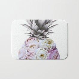 Pineapple, Vintage, Retro, Floral Blush Pink Roses Bath Mat