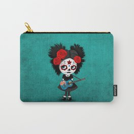 Day of the Dead Girl Playing Turks and Caicos Flag Guitar Carry-All Pouch