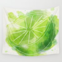 lime green Wall Tapestries featuring Lime by Ashley Stone