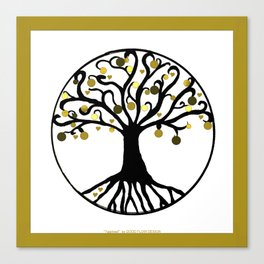 """Tree of Life"",GOLD,Black,White,Framed,WALL ART,Canvases,HOME DECOR,Hand Drawing,HOME Canvas Print"