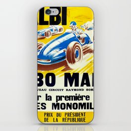Vintage French Racing Poster iPhone Skin