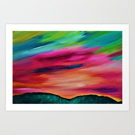 ROSY SKY OVER THE HILLS - Abstract Sky Oil Painting Art Print