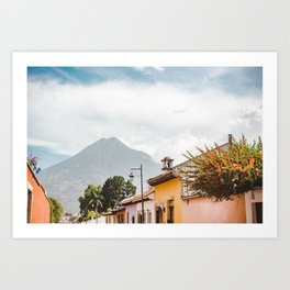 Colorful houses of a street in Antigua Guatemala with volcano views Art Print