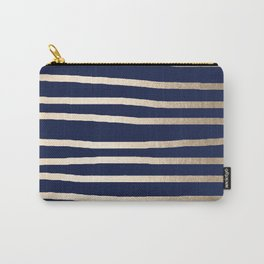 Drawn Stripes White Gold Sands on Nautical Navy Blue Carry-All Pouch