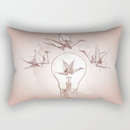 Origami paper cranes and light Rectangular Pillow