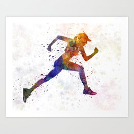 Woman runner jogger running Art Print