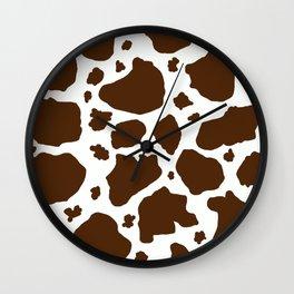 cow spots animal print dark chocolate brown white Wall Clock