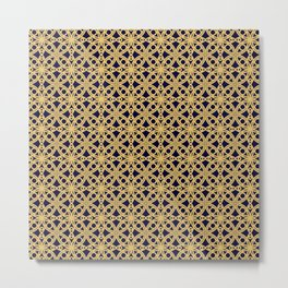Gold and Black Islamic Edition Geometric Pattern Metal Print