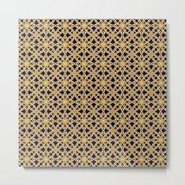 Gold and Black Islamic Edition Geometric Pattern Metal Print