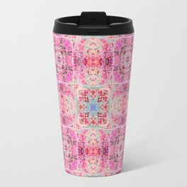 Pink Peach and Blue Pretty Gothic Stained Glass Tile Travel Mug