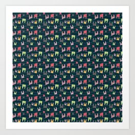 Colorful bunnies on navy background Art Print