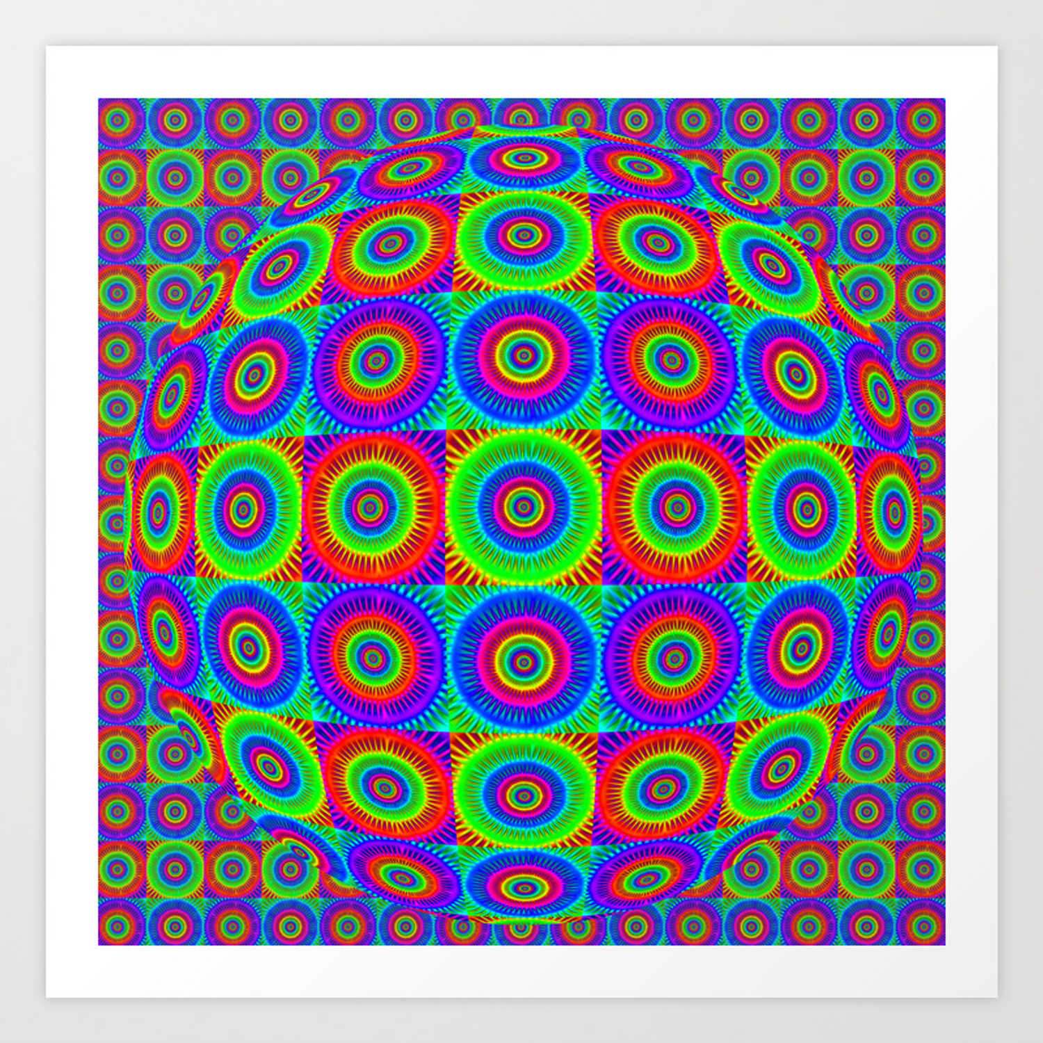 P72 Symmetrical Mirrored Digital Painting Colorful Fractal Abstract Art Postcard