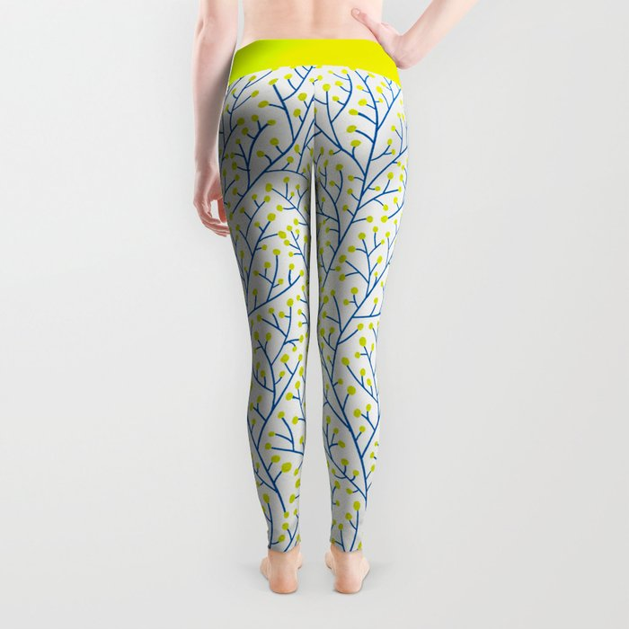 Berry Branches - Lime & Blue Leggings
