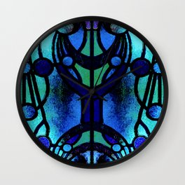 Blue and Aqua Stained Glass Victorian Design Wall Clock