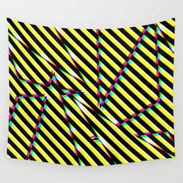Digital Abstract Glitch Stripes Pattern Wall Tapestry