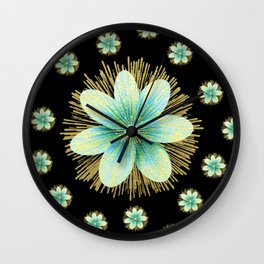 Gold Blue Black Flowers Floral Pattern Wall Clock