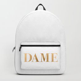 Dame - Gold on White Backpack