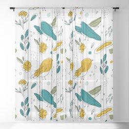 Teal Birds Modern Art Pattern Sheer Curtain