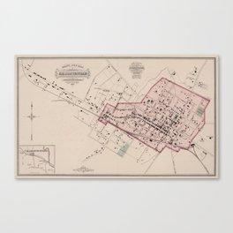 Vintage Map of Charlottesville VA (1877) Canvas Print