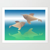 dolphins Art Prints featuring dolphins by Ruud van Koningsbrugge