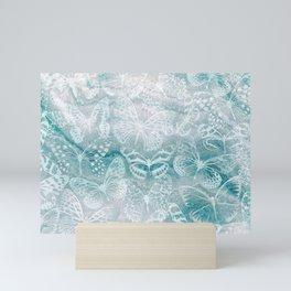 Sea green marble butterflies Mini Art Print